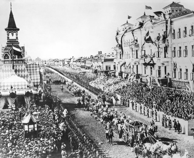 The coronation procession of Tsar Nicholas II through the streets of Moscow, 26th May 1896.