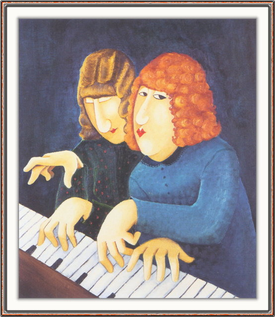 Pianistes. Artwork by Beryl Cook