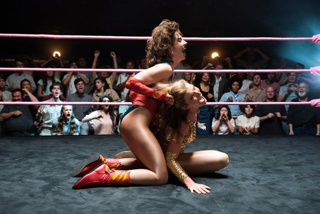 "Alison Brie and Betty Gilpin host in the Netflix comedy-drama""Glow"" Season 1 TV Series, 2017. (Photo by Erica Parise/Netflix/Kobal/Rex Features/Shutterstock)"