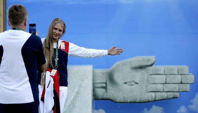 Georgian trampolinist Luba Golovina poses for a photo at the Olympic athletes village in Rio de Janeiro, Brazil, Sunday, July 31, 2016. (Photo by Charlie Riedel/AP Photo)