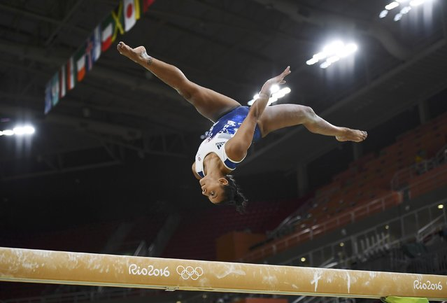 2016 Rio Olympics, Gymnastics training, Rio Olympic Arena, Rio de Janeiro, Brazil on August 4, 2016. Rebecca Downie (GBR) of United Kingdom trains on the beam. (Photo by Dylan Martinez/Reuters)