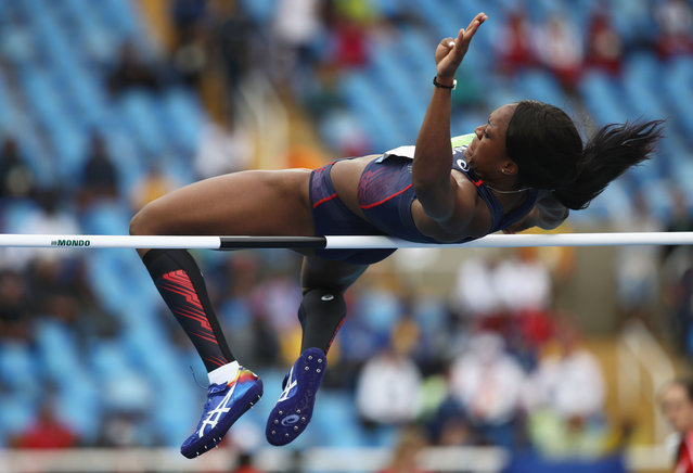 Antoinette Nana Djimou Ida of France competes during the Women's Heptathlon High Jump on Day 7 of the Rio 2016 Olympic Games at the Olympic Stadium on August 12, 2016 in Rio de Janeiro, Brazil. (Photo by Cameron Spencer/Getty Images)