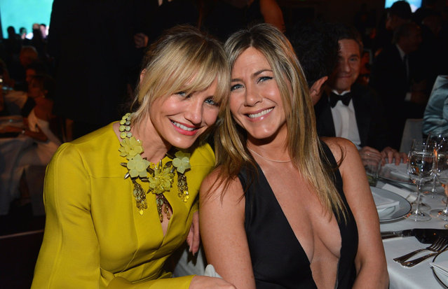 (L-R) Actors Cameron Diaz and Jennifer Aniston attend LACMA 2012 Art + Film Gala Honoring Ed Ruscha and Stanley Kubrick presented by Gucci at LACMA on October 27, 2012 in Los Angeles, California. (Photo by Frazer Harrison)