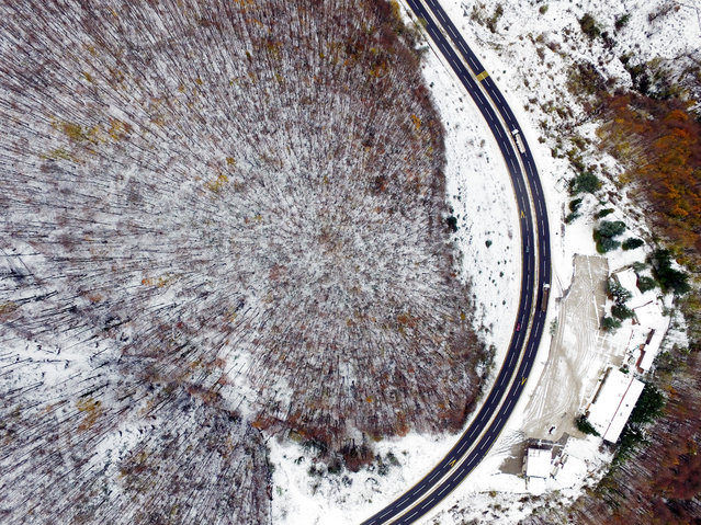 An aerial view of snowy Bolu Mountain is seen on November 22, 2017 in Duzce, Turkey. (Photo by Omer Urer/Anadolu Agency/Getty Images)