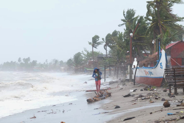Strong waves batter the coast of Sorsogon province, central Philippines as a typhoon locally known as Goni hits the country on Sunday, November 1, 2020. (Photo by AP Photo/Stringer)