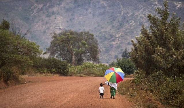 A mother reaches out to hold the hand of her young daughter, as they walk home after a church service in the village of Rwinkwavu, near to Akagera National Park, in Rwanda Sunday, September 6, 2015. (Photo by Ben Curtis/AP Photo)