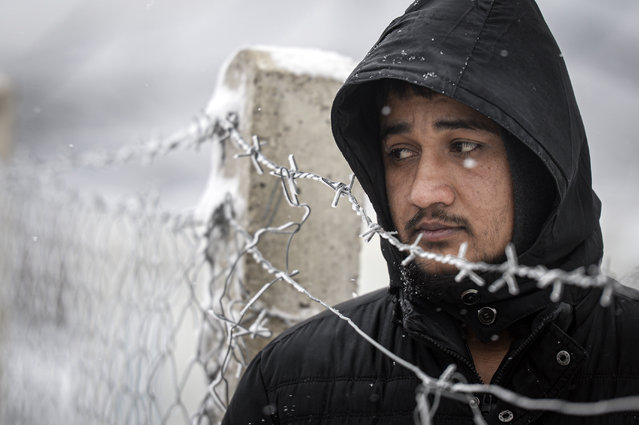 A migrant stands next to a fence during snowfall at the Lipa camp, outside Bihac, Bosnia, Friday, January 8, 2021. A fresh spate of snowy and very cold winter weather on has brought more misery for hundreds of migrants who have been stuck for days in a burnt out camp in northwest Bosnia waiting for heating and other facilities. (Photo by Kemal Softic/AP Photo)