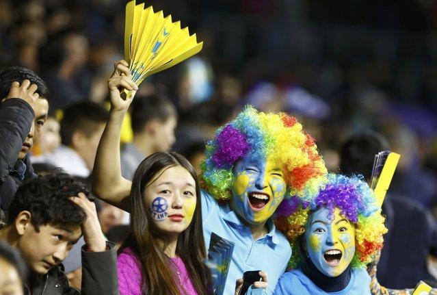 Football Soccer, Astana vs Benfica, Champions League Group Stage, Group C -  Astana Arena, Astana, Kazakhstan November 25, 2015: Astana's fans cheer for their team. (Photo by Shamil Zhumatov/Reuters)