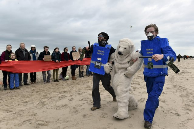 People take part in performance depicting police officers arresting a polar bear as people form a human chain on the beach during in a march against climate change in Ostend, Belgium, December 6, 2015. (Photo by Eric Vidal/Reuters)