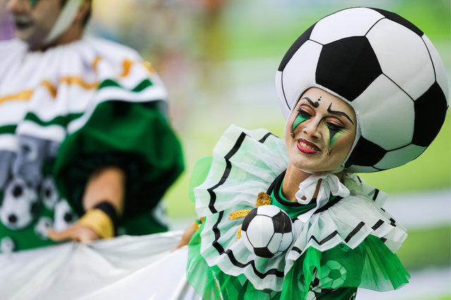 Performers at the opening ceremony of the 2018 FIFA World Cup at Luzhniki Stadium in Moscow, Russia on June 14, 2018. (Photo by Sergei Bobylev/TASS via Getty Images)