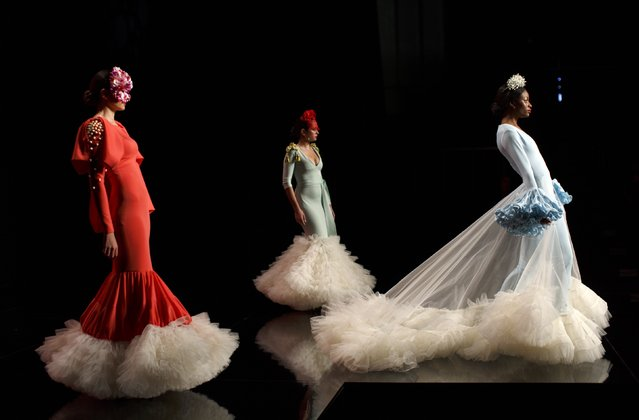 Models present creations by Ernesto Sillero during the International Flamenco Fashion Show SIMOF in the Andalusian capital of Seville February 5, 2015. (Photo by Marcelo del Pozo/Reuters)