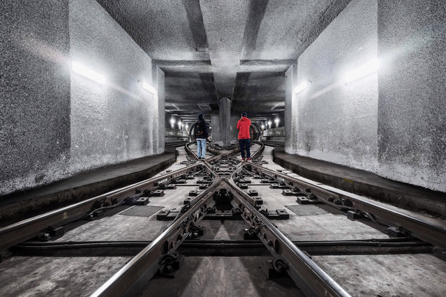 Unnamed subway track in Los Angeles. (Photo by Dark Cyanide/Caters News)