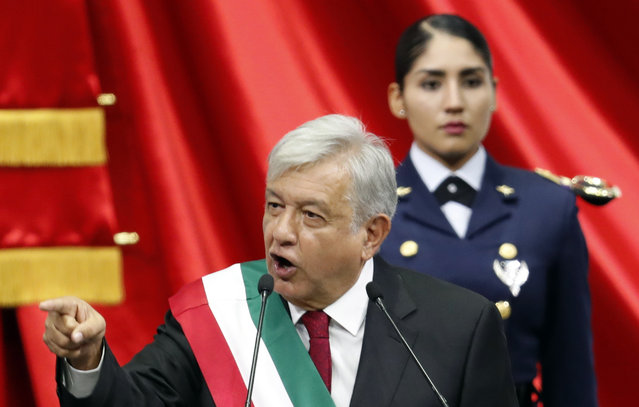 Mexico's new President Andres Manuel Lopez Obrador speaks during his inaugural ceremony at the National Congress in Mexico City, Saturday, December 1, 2018. (Photo by Eduardo Verdugo/AP Photo)
