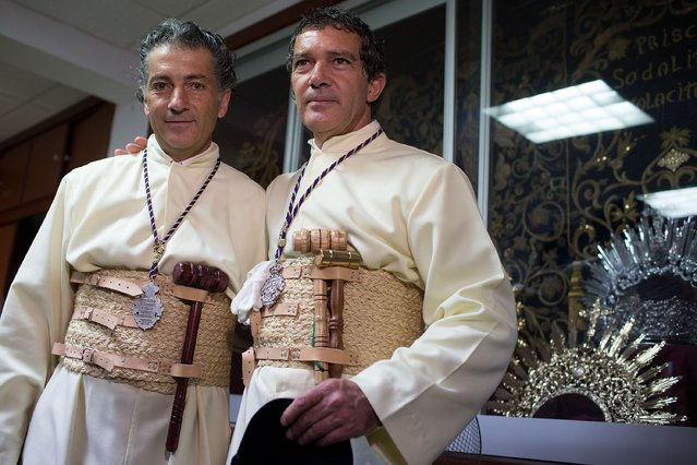 Antonio Banderas (R) and his brother Javier Dominguez Banderas (L) attends the Maria Santisima de Lagrimas y Favores procession at San Juan Bautista church during Holy Week celebrations on March 29, 2015 in Malaga, Spain. (Photo by Gonzalo Arroyo Moreno/Getty Images)