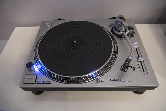 The Panasonic Corp. Technics Direct Drive Turntable SL1200GR is displayed during the company's press event at the 2017 Consumer Electronics Show (CES) in Las Vegas, Nevada, U.S., on Wednesday, January 4, 2017. CES, celebrating its 50th year, will showcase self-driving cars, TVs, drones, robots and a slew of other gadgets. (Photo by David Paul Morris/Bloomberg)