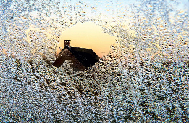 Picture taken of a window covered with frost on December 4, 2016 in Godewaersvelde, northern France. (Photo by Philippe Huguen/AFP Photo)