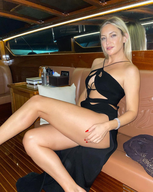 American actress, author, and fashion entrepreneur Kate Hudson shows some leg on the limo ride to her premiere at the Venice Film Festival on September 5, 2021. (Photo by Instagram)