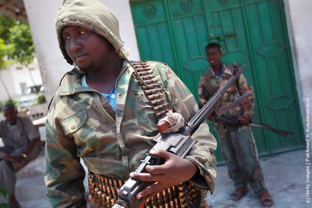 Somali Transitional Federal Government (TFG), soldiers stand guard in the Bakara market