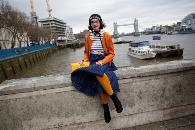 Fashion fan Philippine Ponsar poses for a portrait during London Fashion Week in London, Britain February 19, 2017. (Photo by Neil Hall/Reuters)