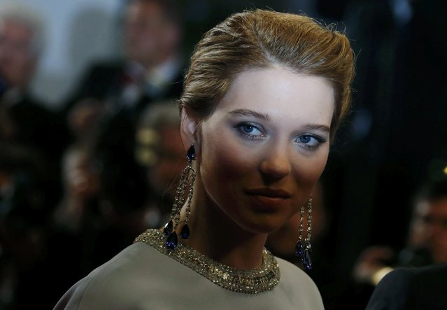 "Cast member Lea Seydoux poses on the red carpet as she arrives for the screening of the film ""The Lobster"" in competition during the 68th Cannes Film Festival in Cannes, southern France, May 15, 2015. (Photo by Regis Duvignau/Reuters)"