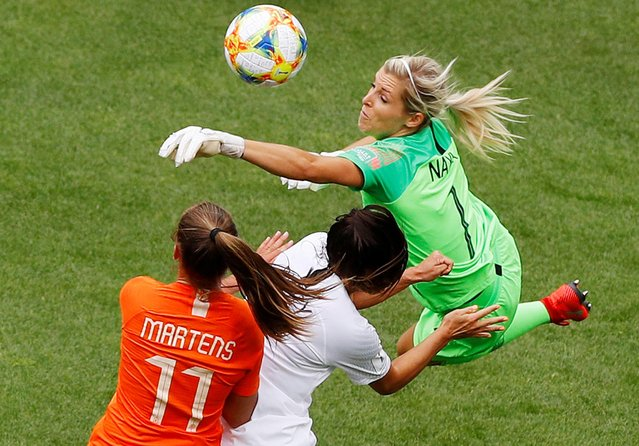 Goalkeeper Erin Nayler of New Zealand women, Ali Riley of New Zealand women, Lieke Martens of Netherlands women during the FIFA Women's World Cup France 2019 group E match between New Zealand and The Netherlands at Stade Oceane on June 11, 2019 in Le Havre, France. (Photo by Phil Noble/Reuters)