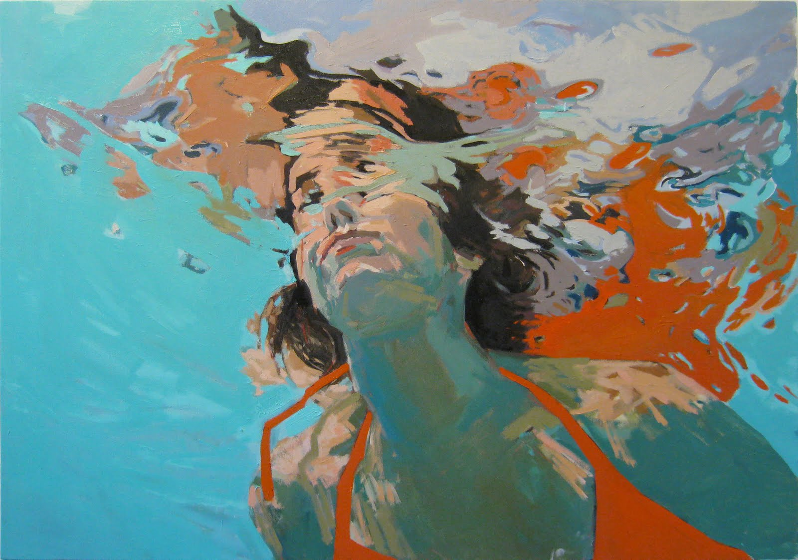 underwater painting of people by houston - 736×582