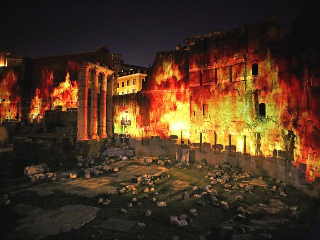 """A general view of the Forum of Augustus during the event """"Forum of Augustus – 2,000 Years Later"""", in Rome, Italy, 21 April 2014. The show with special light effects, music and reconstructions focuses on the figure of Augustus, the founder of the Roman Empire and its first Emperor, whose two thousandth death anniversary (19 August 14 AD) is marked this year. (Photo by Alessandro Di Meo/EPA)"""