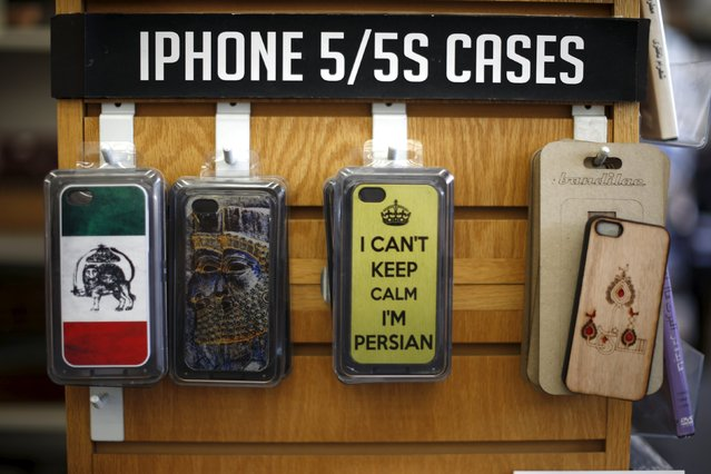 An iPhone case with a pre-1980 Iranian flag is seen at a store in Westwood, Los Angeles, California, United States July 14, 2015. Iran and six major world powers reached a nuclear deal on Tuesday, capping more than a decade of negotiations with an agreement that could transform the Middle East. (Photo by Lucy Nicholson/Reuters)