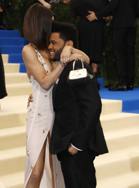 """The Weeknd and Selena Gomez attend """"Rei Kawakubo/Comme des Garcons: Art Of The In-Between"""" Costume Institute Gala – Arrivals at Metropolitan Museum of Art on May 1, 2017 in New York City. (Photo by Lucas Jackson/Reuters)"""