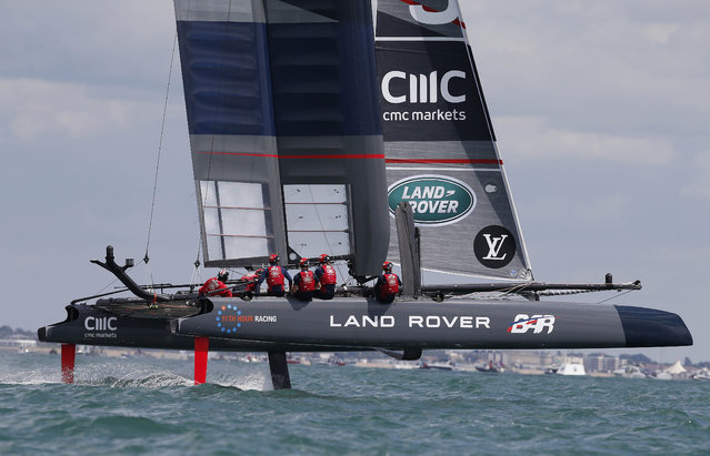 Sailing, The America's Cup, Portsmouth on July 25, 2015: Land Rover BAR skippered by Sir Ben Ainslie during their warm up. (Photo by Andrew Yates/Reuters)