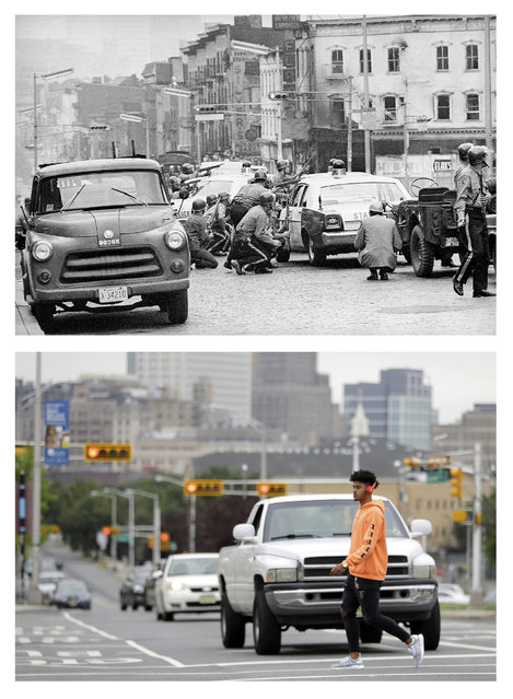 In a July 14, 1967 file photo, top, New Jersey State Police use cars for protection on Springfield Avenue as they battle snipers in Newark, N.J., where four days of deadly violence and looting came to be known as the Newark riots. In a June 16, 2017 photo, bottom, a man crosses the street in the same spot 50 years later. (Photo by AP Photo/File, top; Julio Cortez, bottom)