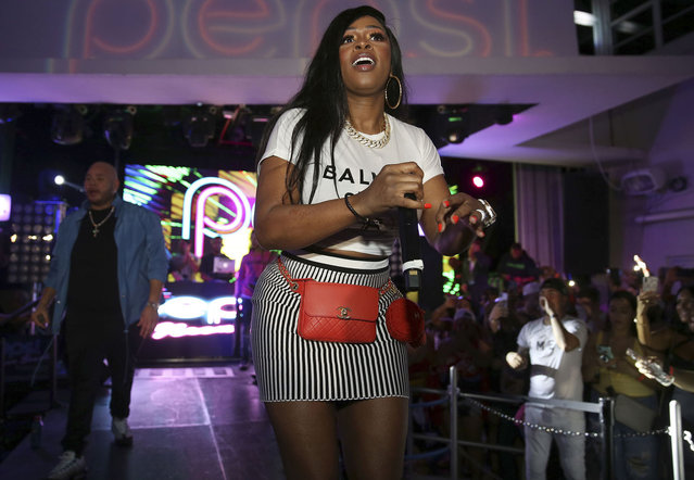 Remy Ma performs at the Pepsi Super Splash Pool Party at Pepsi Neon Beach on Saturday, February 1, 2020, in South Beach, FL. (Photo by Donald Traill/Invision/AP Photo)