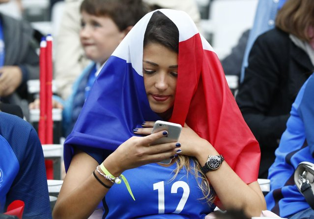 Football Soccer, France vs Iceland, EURO 2016, Quarter Final, Stade de France, Saint-Denis near Paris, France on July 3, 2016. Wife of France's  Morgan Schneiderlin, Camille Sold in the stands. (Photo by Christian Hartmann/Reuters/Livepic)