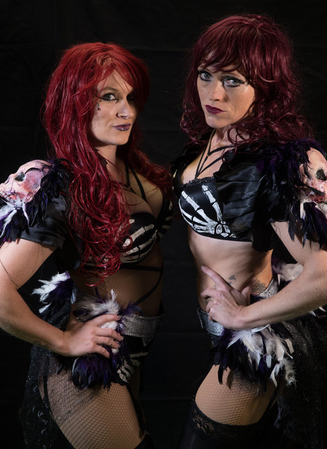 The Sinister Sisters, Stephanie Mercury (L) and Jennie Legat (R) pose for a photograph prior to a rehearsal of the Circus of Horrors' latest show Voodoo, ahead of Halloween, at the Wookey Hole Caves Theatre near Wells on October 19, 2017 in Somerset, England. (Photo by Matt Cardy/Getty Images)