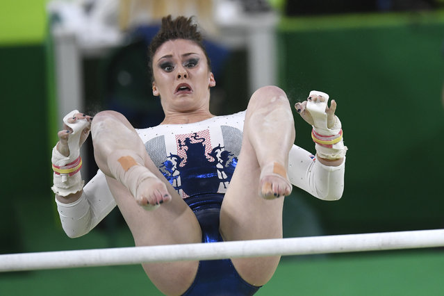 Ruby Harold of Great Britain competes on uneven bars during the women's team gymnastics final on Tuesday, August 9, 2016 in Rio de Janeiro, Brazil. The United States women won the event. (Photo by Aaron Ontiveroz/The Denver Post)