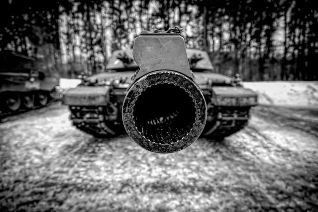 """The Look of 120mm"", the business end of a Challenger 2 tank, at Hohne firing ranges, Germany, by Cpl Dean Docwra; Army Photographic Competition, Britain, October 8, 2014. (Photo by MoD/Geoff Robinson Photography/REX Features)"