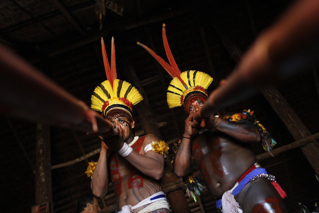 "Yawalapiti men play the urua bamboo flute during the preparations for the celebration of ""quarup"", a ritual held to honor in death a person of great importance to them, in the Xingu National Park, Mato Grosso State, May 9, 2012. (Photo by Ueslei Marcelino/Reuters)"