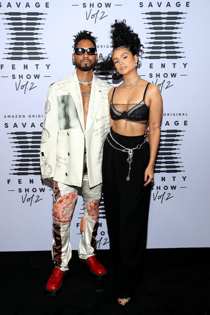(L-R) In this image released on October 1, Miguel and Nazanin Mandi attend Rihanna's Savage X Fenty Show Vol. 2 presented by Amazon Prime Video at the Los Angeles Convention Center in Los Angeles, California; and broadcast on October 2, 2020. (Photo by Jerritt Clark/Getty Images for Savage X Fenty Show Vol. 2 Presented by Amazon Prime Video)
