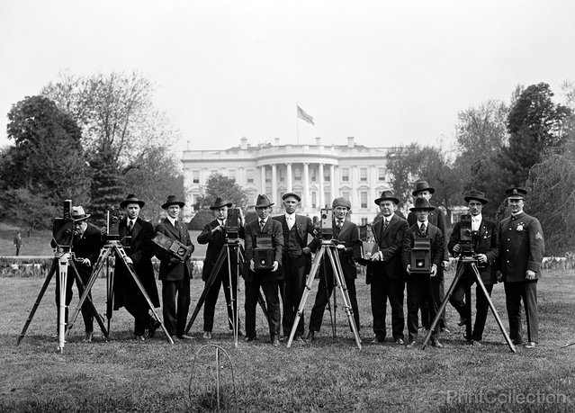 Press Correspondents and Photographers on White House Lawn, Washington, DC. Photographed by Harris & Ewing in 1918.