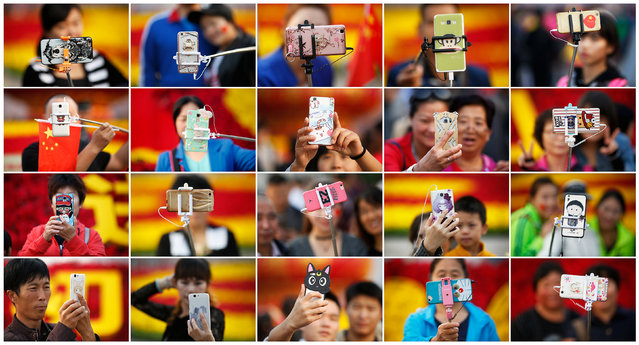 A combination of pictures shows people taking photos of themselves in Tiananmen Square as they celebrate National Day marking the 67th anniversary of the founding of the People's Republic of China, in Beijing October 1, 2016. (Photo by Damir Sagolj/Reuters)