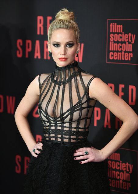 """Jennifer Lawrence attends the """"Red Sparrow"""" New York Premiere at Alice Tully Hall at Lincoln Center on February 26, 2018 in New York City. (Photo by Dimitrios Kambouris/Getty Images)"""