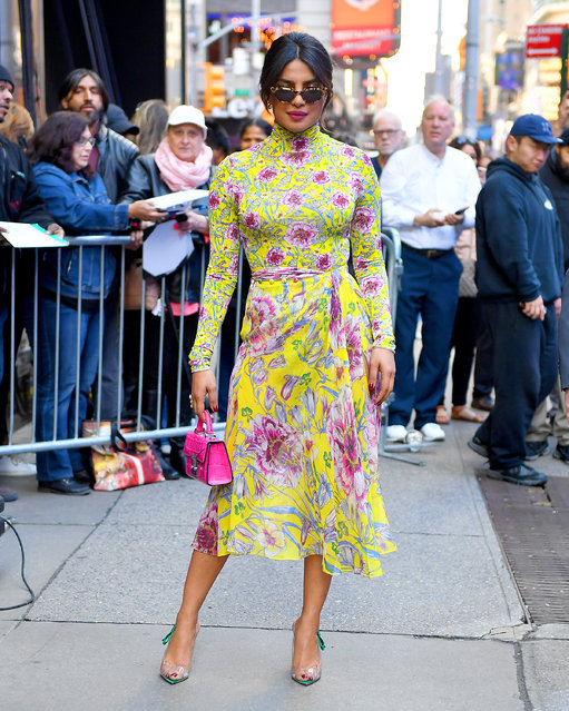 Priyanka Chopra wears a floral dress at GMA in New York City on April 26, 2018. (Photo by Robert O'Neil/Splash News and Pictures)