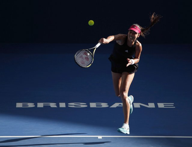 Ana Ivanovic of Serbia serves to Varvara Lepchenko of the U.S. in their women's singles semi final match at the Brisbane International tennis tournament in Brisbane, January 9, 2015. (Photo by Jason Reed/Reuters)