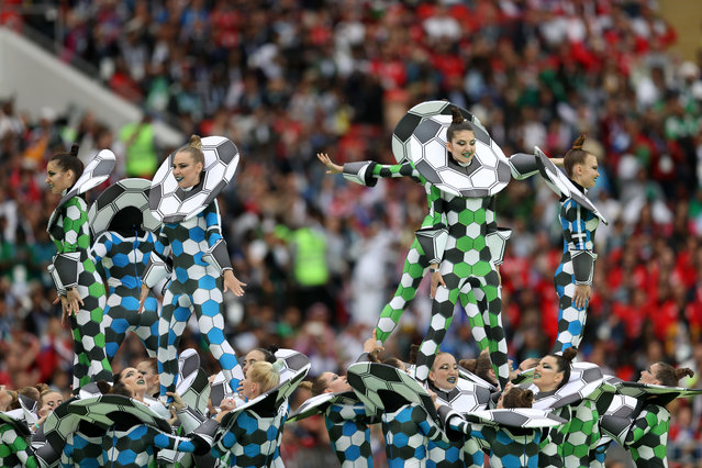 Artists perform in the centre circle during the opening ceremony before the Russia 2018 World Cup Group A football match between Russia and Saudi Arabia at the Luzhniki Stadium in Moscow on June 14, 2018. (Photo by Lars Baron/FIFA via Getty Images)