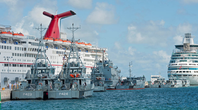 Royal Bahamas Defence Force vessels take refuge from Hurricane Matthew at the U.S. Navy's Truman Harbor pier in Key West, Florida, October 5, 2016. (Photo by Rob O'Neal/Reuters/Florida Keys News Bureau)