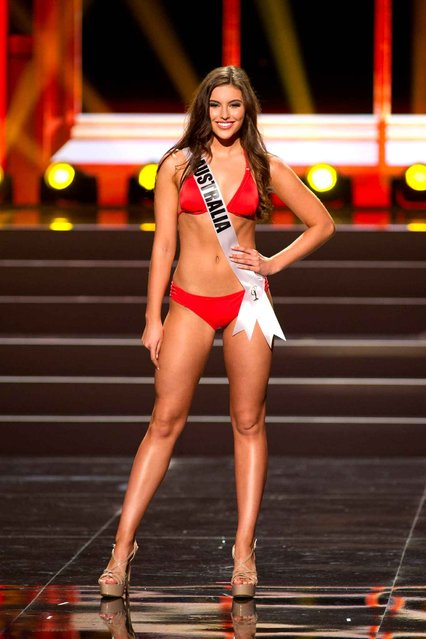 This photo provided by the Miss Universe Organization shows Olivia Wells, Miss Australia 2013, competes in the swimsuit competition during the Preliminary Competition at Crocus City Hall, Moscow, on November 5, 2013. (Photo by Darren Decker/AFP Photo)