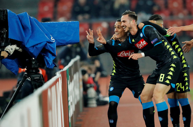 Napoli's Jose Callejon (L) celebrates after scoring his team's second goal during the UEFA Europa League round of 32 first leg football match between FC Zurich and SSC Napoli at the Letzigrund stadium in Zurich on February 14, 2019. (Photo by Arnd Wiegmann/Reuters)