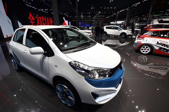 Toyota Motor Corp.'s Leahead brand electric vehicle stands on display at the 16th Shanghai International Automobile Industry Exhibition (Auto Shanghai 2015) in Shanghai, China, on Monday, April 20, 2015. (Photo by Tomohiro Ohsumi/Bloomberg)