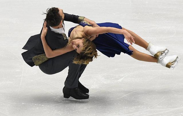 Gabriela Papadakis and Guillame Cizeron of France compete during short ice dance program during the European Figure Skating Championship in Ostrava, Czech Republic on January 26, 2017. (Photo by Joe Klamar/AFP Photo)