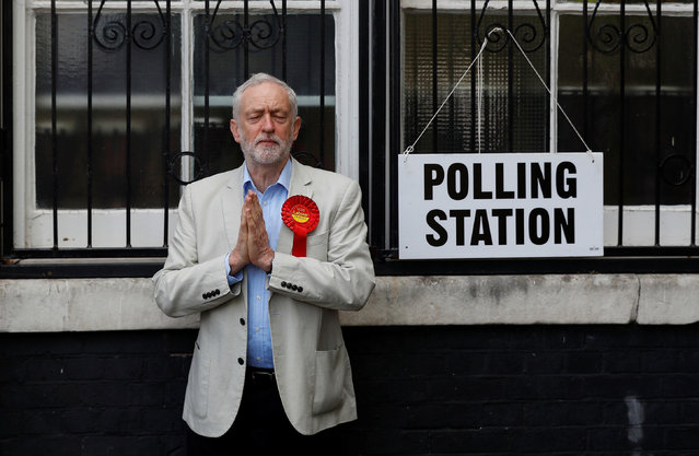 Jeremy Corbyn gestures after voting in local government elections in London on 3 May 2018. (Photo by Peter Nicholls/Reuters)